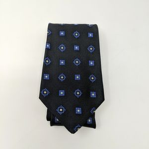 Vtg Patrick James Black Blue Standard Tie